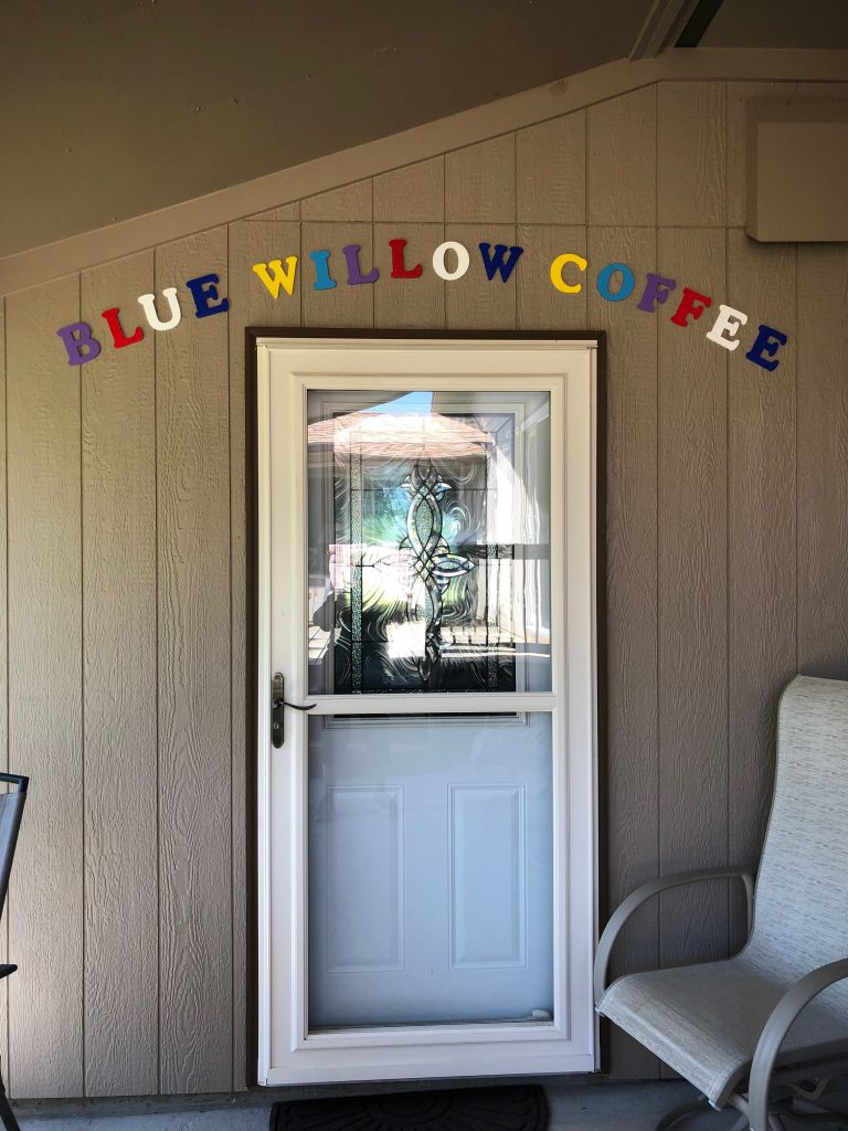 Entrance to Blue Willow Heaven Coffee Roasting Room